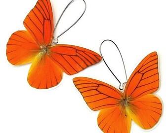 Real Butterfly Wing Earrings (Whole Orange Appias Nero Butterfly  - WE002)
