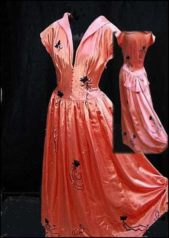 Bustle Dress 1940s 1950s Bejeweled Gown Peplum in back Side Metal Zipper LAYAWAY Available