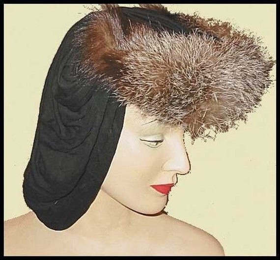 Hat 1940s 40s Old Hollywood Classic Vintage Fur Hat AWESOME Snood Back LAYAWAY Available