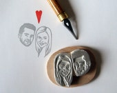 Custom / double face / handcarved rubber stamp