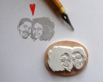 Custom Portrait invitations / Personalized Gifts stamp for couple / rustic wedding / hand carved rubber / save the date return address face
