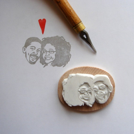 Custom / couple portrait / handcarved rubber stamp