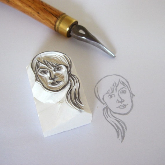 Custom / portrait / handcarved rubber stamp