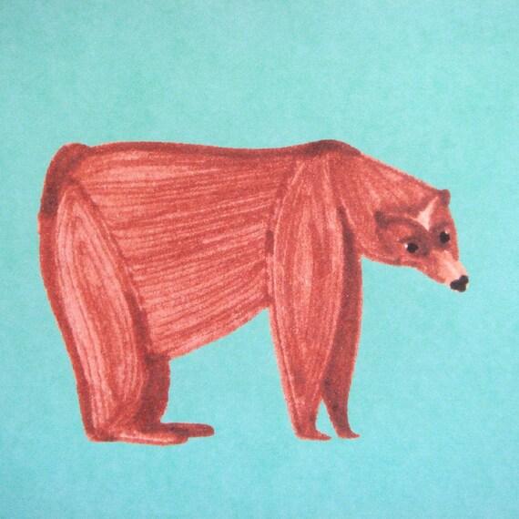 The bear / postcard / green