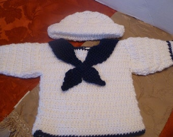 Made to order Sailor sweater and hat 0-3 months