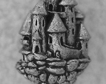Green Girl Studios Pewter Floating Castle Bead