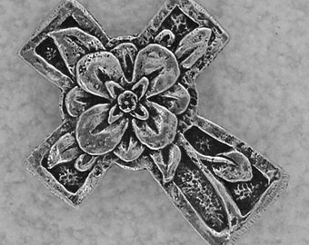 Green Girl Studios Pewter Floral Cross Pendant