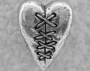 Green Girl Studios Laced Heart Pewter Bead