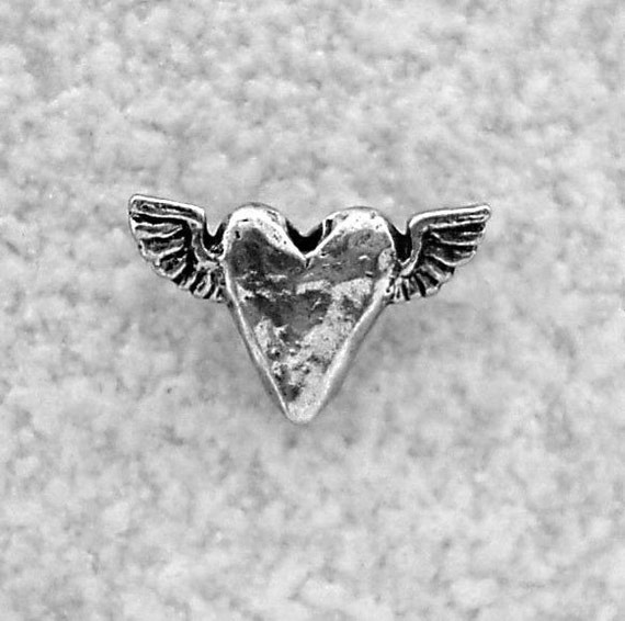 Green Girl Studios Tiny Flying Heart Pewter Charm