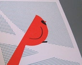 Perched Cardinal Letterpress Print