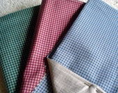 Quilting Fabric - Poly Blend Fabric - 3 Fat Quarters - Green, Red, Blue Checkered pattern