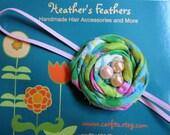 Vintage Fabric Flower Rosette Skinny Headband -BIRDIE NEST