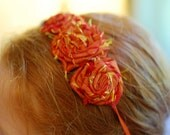 Burnt Orange triple Fabric Flower Rosette  Elastic Headband- SOPHISTICATE collection