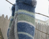 Blue Stripped Mittens - fully lined