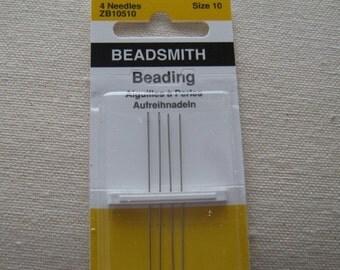 Size 10 Beading Needles John James 4 pack (BN104)
