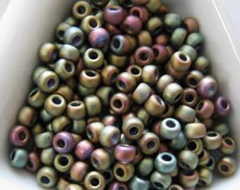 Miyuki size 8/0 round Matte Metallic Khaki Iris Seed Beads (color F463K aka 2035)  approx  28 Grams