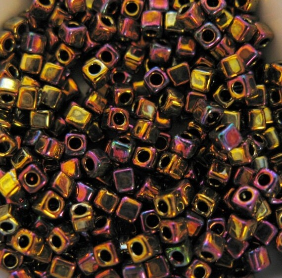 Miyuki 1.8mm Cube Beads, Metallic Gold, Iris, (color SB18-462) one 8.2 Gram Tube