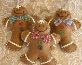Stuffed Felt Gingerbread Man Christmas Ornaments Cookie Men