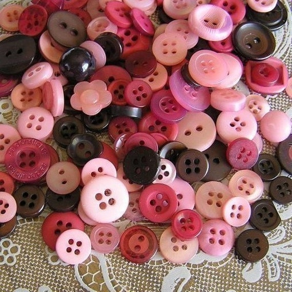 100 Cherry Chocolate Small to Medium sized Button Mix Buttons Pink Burgandy Brown