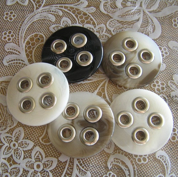 5 Mixed Brown Cream Black Swirled 1-1/2 inch 4 hole Buttons with Metal Eyelet Holes
