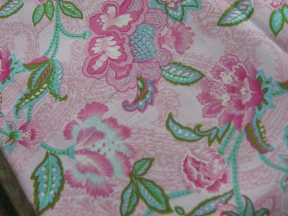 SALE One Yard of Pink, Aqua, and Green Floral Fabric