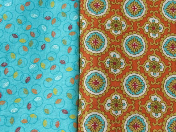 END of BOLT Bundle Turquoise Orange Gold and Dark Red Cotton Quilting Fabric