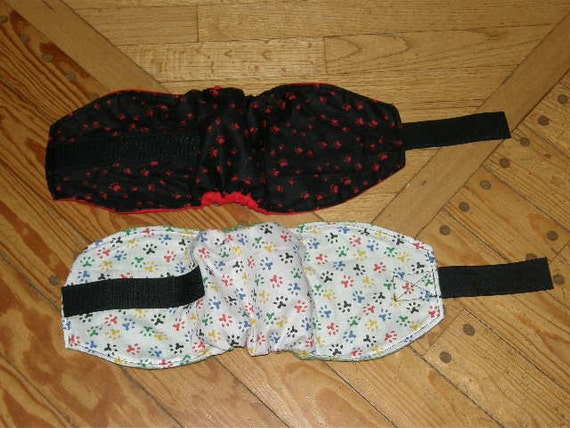 "2 Male Dog Diaper Diapers BellyBand 17""-21"" White with Colored Pawprints and Black with Red Pawprints Ready to Mail"