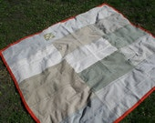 Croquet on the Lawn Picnic Blanket - Made from recycled jeans and corduroys
