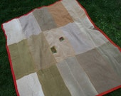 Shire City Picnic Blanket - Red and Orange Edging - Made from recycled corduroys