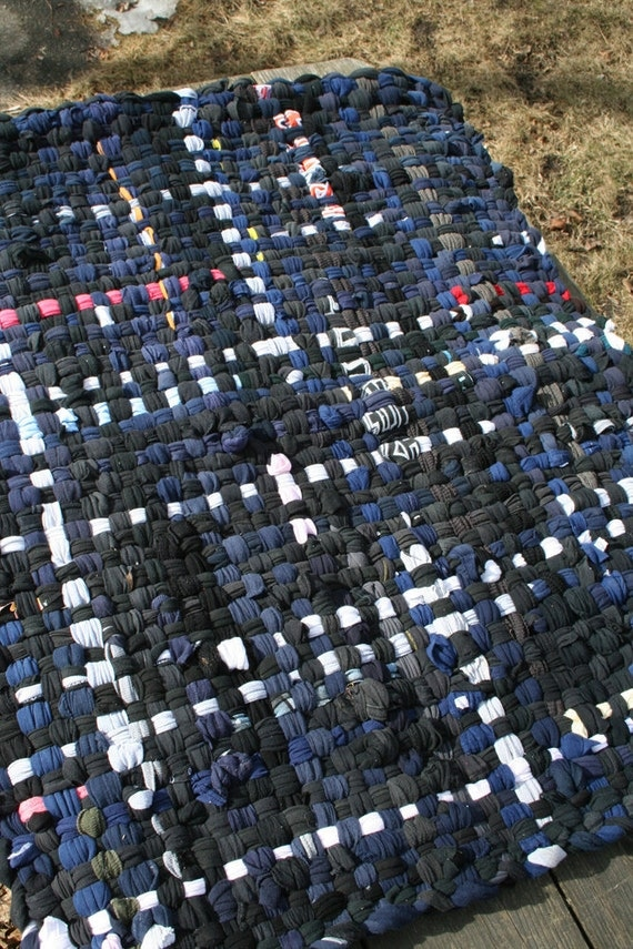 Potholder Rug 2.5x3.5ft - Navy and Black with White Accents - Cotton