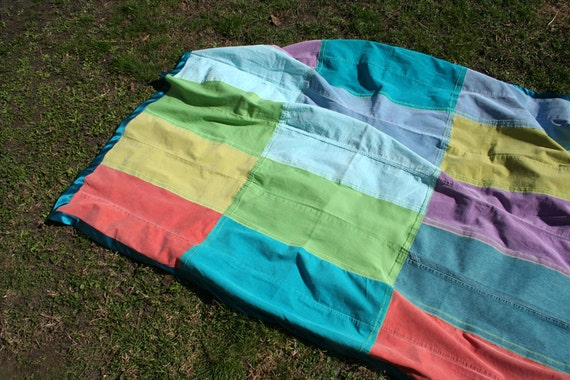Cupcake Picnic Blanket - Made from recycled jeans and corduroys