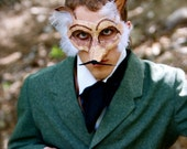 Reynard, the French Fox - Mustachioed Papier-Mache (Paper Mache) Fox Mask in Copper and Brown Glitter
