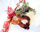 Titania - Fairy Mask in Tangerine Tango, Fuschia, and Olive Green, with Bird Embellishment