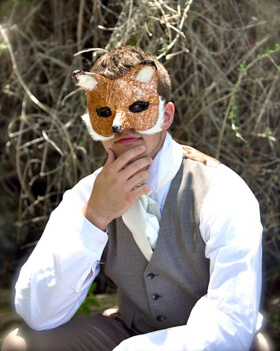 SALE - The Incredible Mr. Fox - One-of-a-Kind Foil Fox Mask