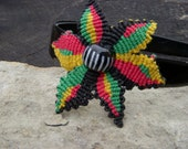 UNIVERSAL PEOPLE Hemp Rasta Flower Fascinator Headband, VTG Trade Glass, Organic Fiber