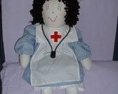 Cloth Doll RN or LPN Nurse Nancy Reporting for Duty