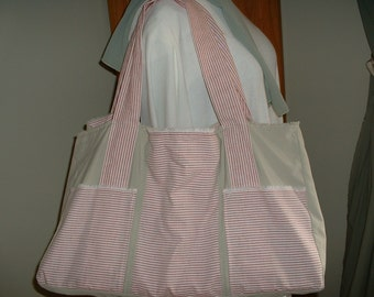 Market Tote Large w/Pockets, Ticking & Dusty Green - Eco-Friendly Bag