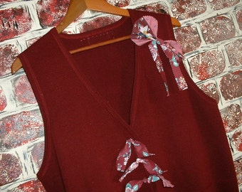"""Sweater Vest Buttons & Bows by """"Pretty in Plus"""" - Burgundy w/Vintage Fabrics 'n Buttons"""