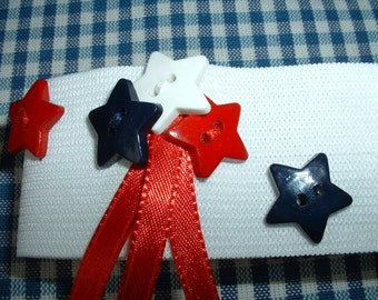 Ankle Band, Cuff, America, Salutes the Red White & Blue, Upcycled Recycled Repurposed Eco Friendly