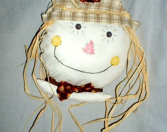 Handmade Scarecrow Face Fall, Halloween Decoration, Wall or Door Hanging, Only 2 Left