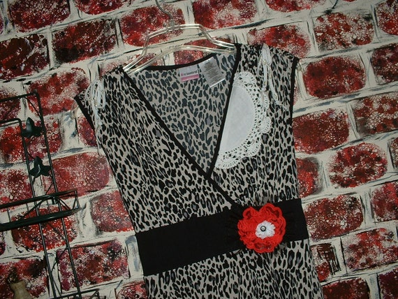Animal Print Dress, Leopard, Upcycled, Removable Pin, Juniors 11/13 Size Large