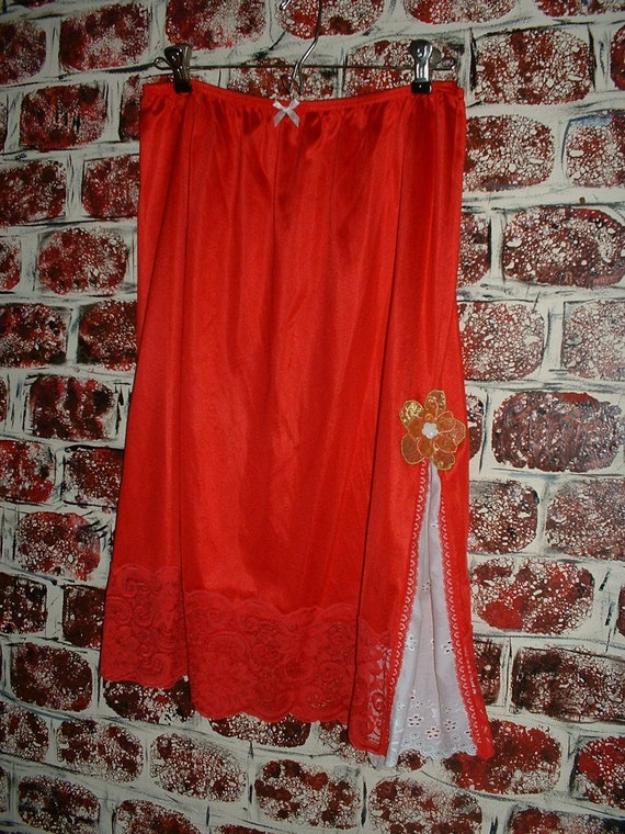 "Slipskirt Recycled Eco-Friendly Repurposed Refashioned Red Valentines's Day from ""Pretty in Plus"""