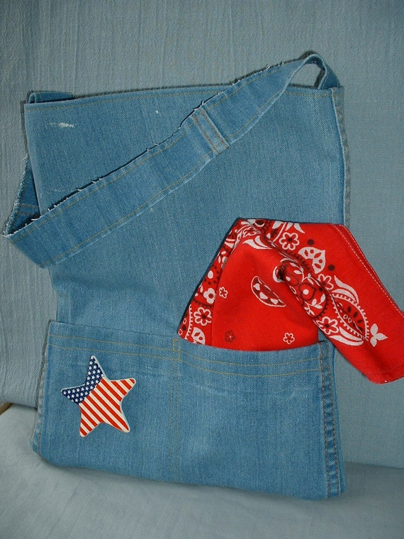 Denim Tote, Scarf & Pin Vintage Jeans Recycled, Upcycled, Repurposed, Eco-Friendly, Urban Cowgirl