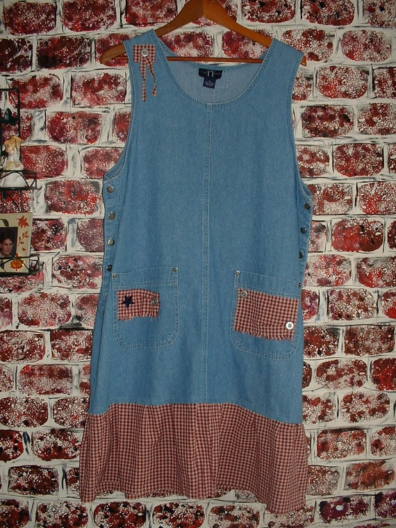 "Tattered Denim Jumper from ""Pretty in Plus"" Size 18 Recycled Upcycled Eco-Friendly Women's Clothing"