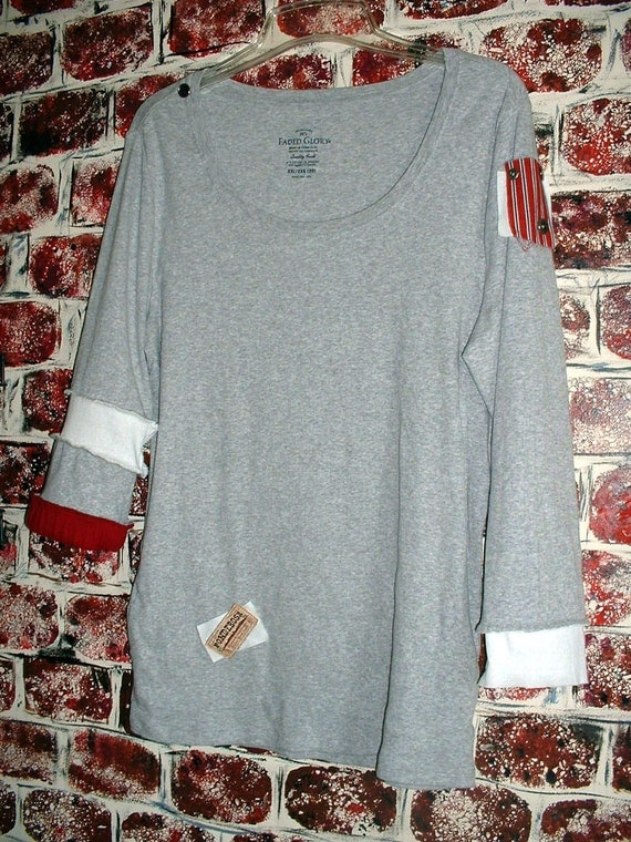 """Repurposed Gray Knit Top, Tattered, Funky, Fun Clothing from """"Pretty in Plus"""" - Size 2X"""