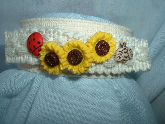 Summer Ankle Band w/Sunflowers, Bee, Lady Bug & Dragonflies