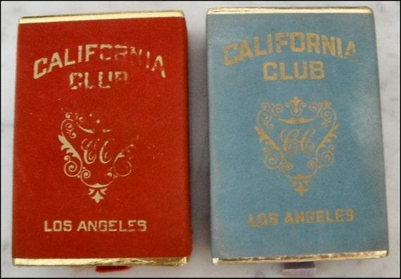 Vintage California Club Los Angeles Playing Cards Bridge Red Blue CC