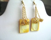 Lemon Dessert Squares ... dangling earrings, MOP, french hooks