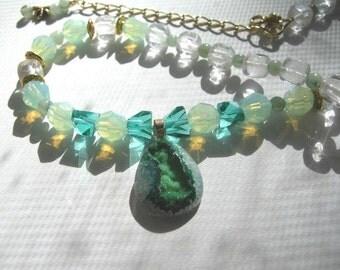 Avonlea .... green window druzy agate, chrysoprase opal Swarovsky crystal .. #302