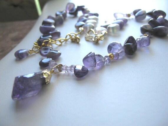 Purple Velvet ... natual amethyst, flourite, rough crystal pendant .. #271